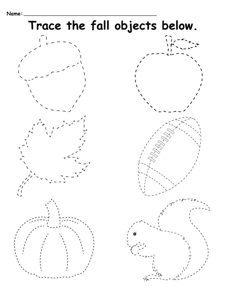 objects tracing sheets for toddlers