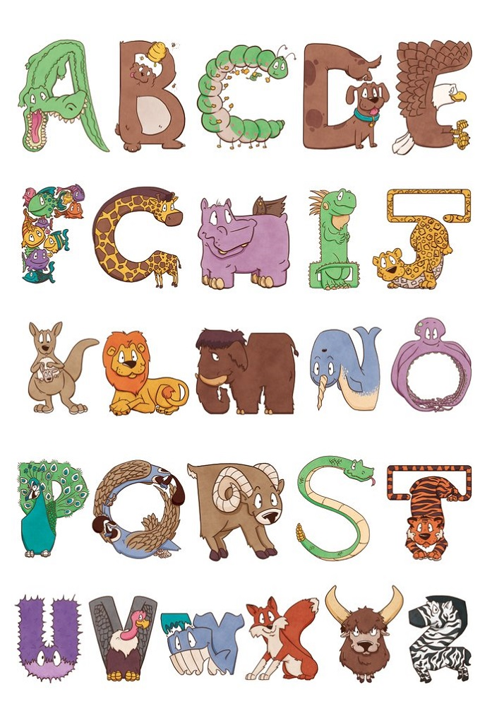 printable animal shaped alphabet letters