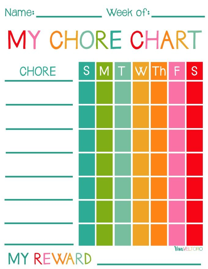 colorful printable chore charts for kids