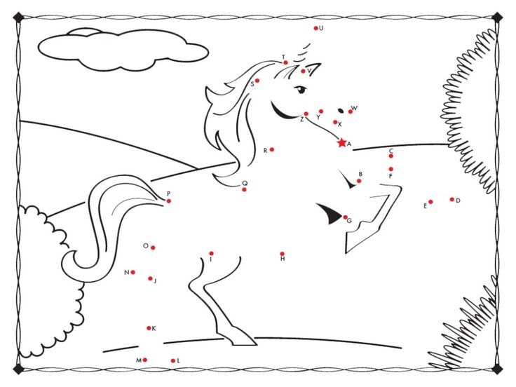coloring unicorn connect the dots