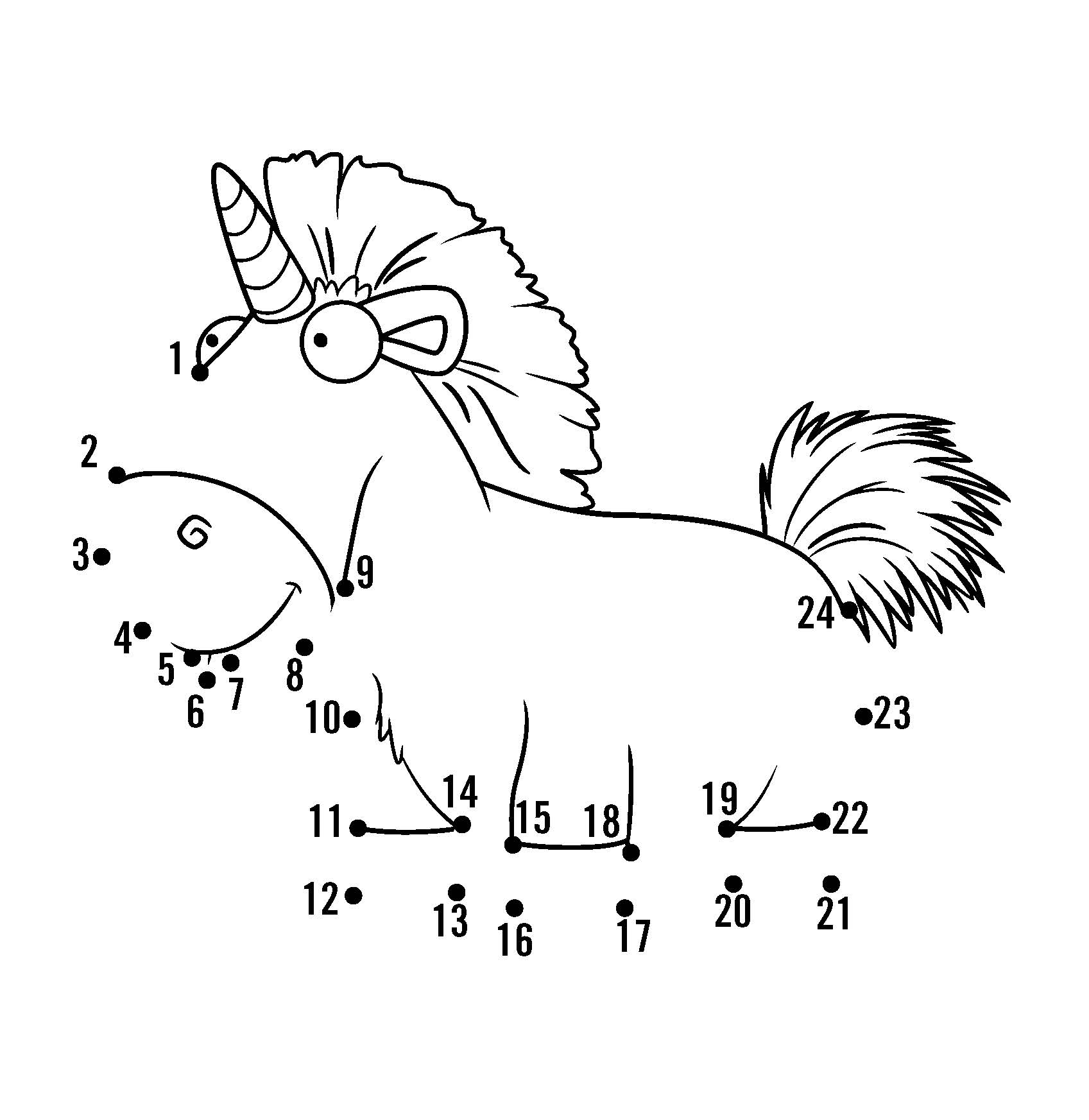 cute unicorn connect the dots