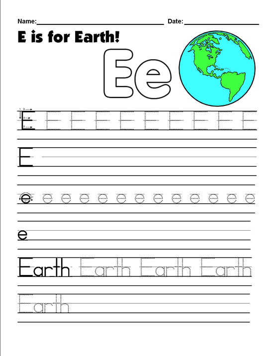 earth day tracing worksheets