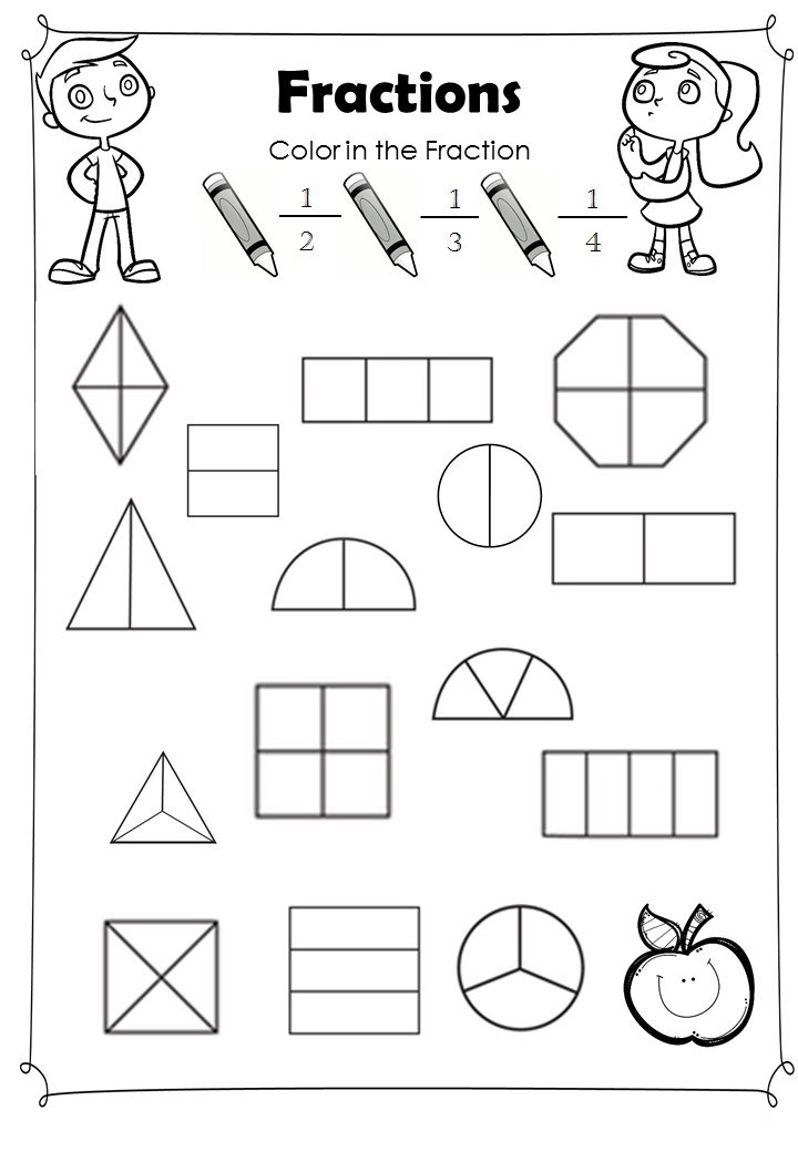 fractions for beginners worksheets for kids