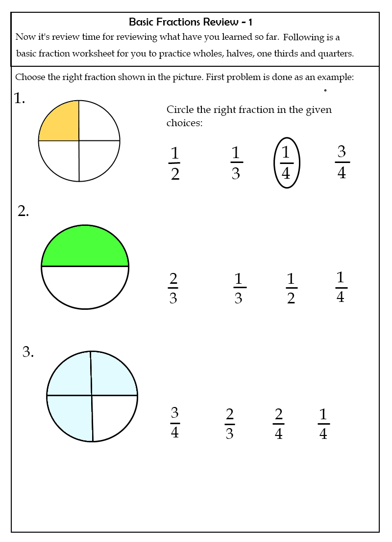 fractions for beginners worksheets