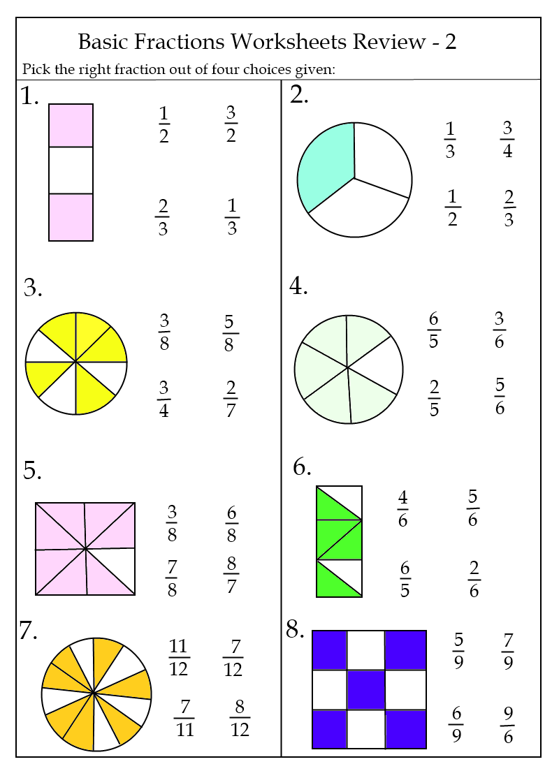 printable fractions for beginners worksheets