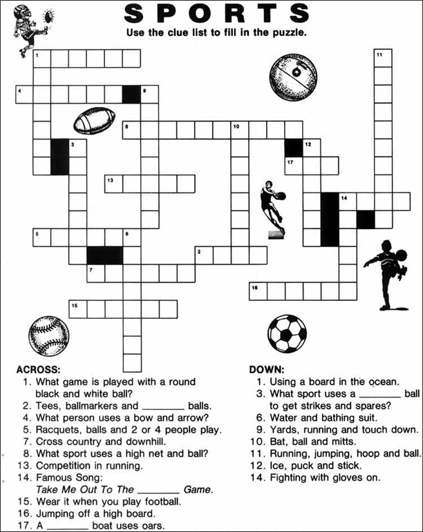 sports crossword puzzles printable for education