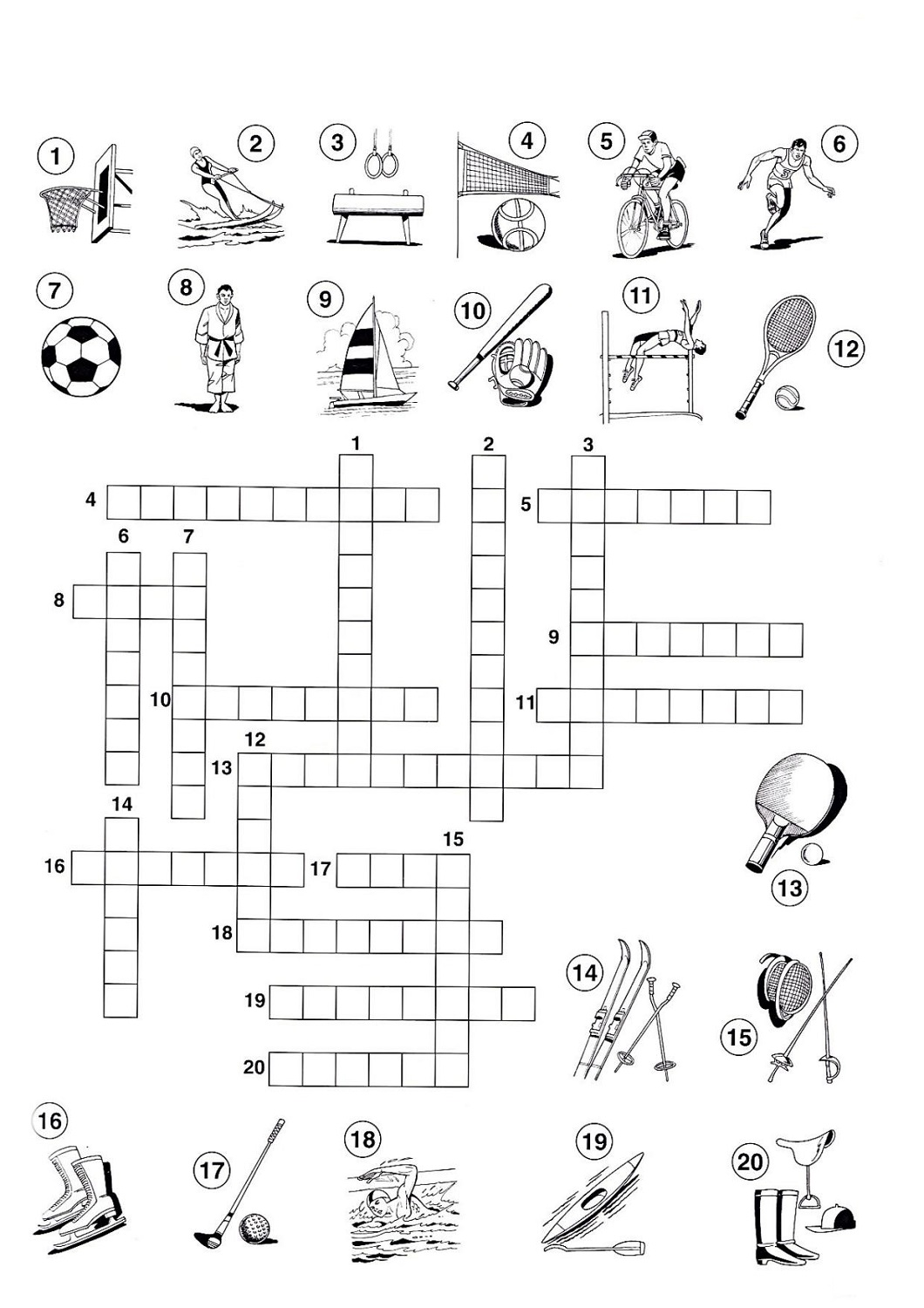 sports crossword puzzles printable for kids