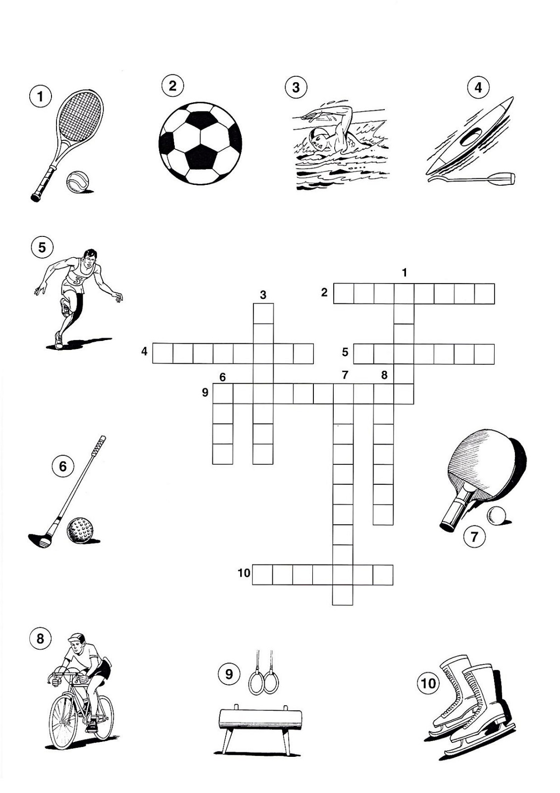 sports crossword puzzles printable worksheet