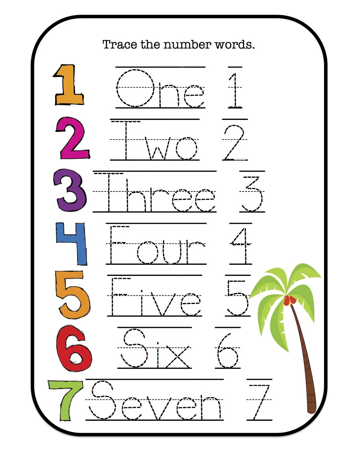 tracing sheets number for preschoolers