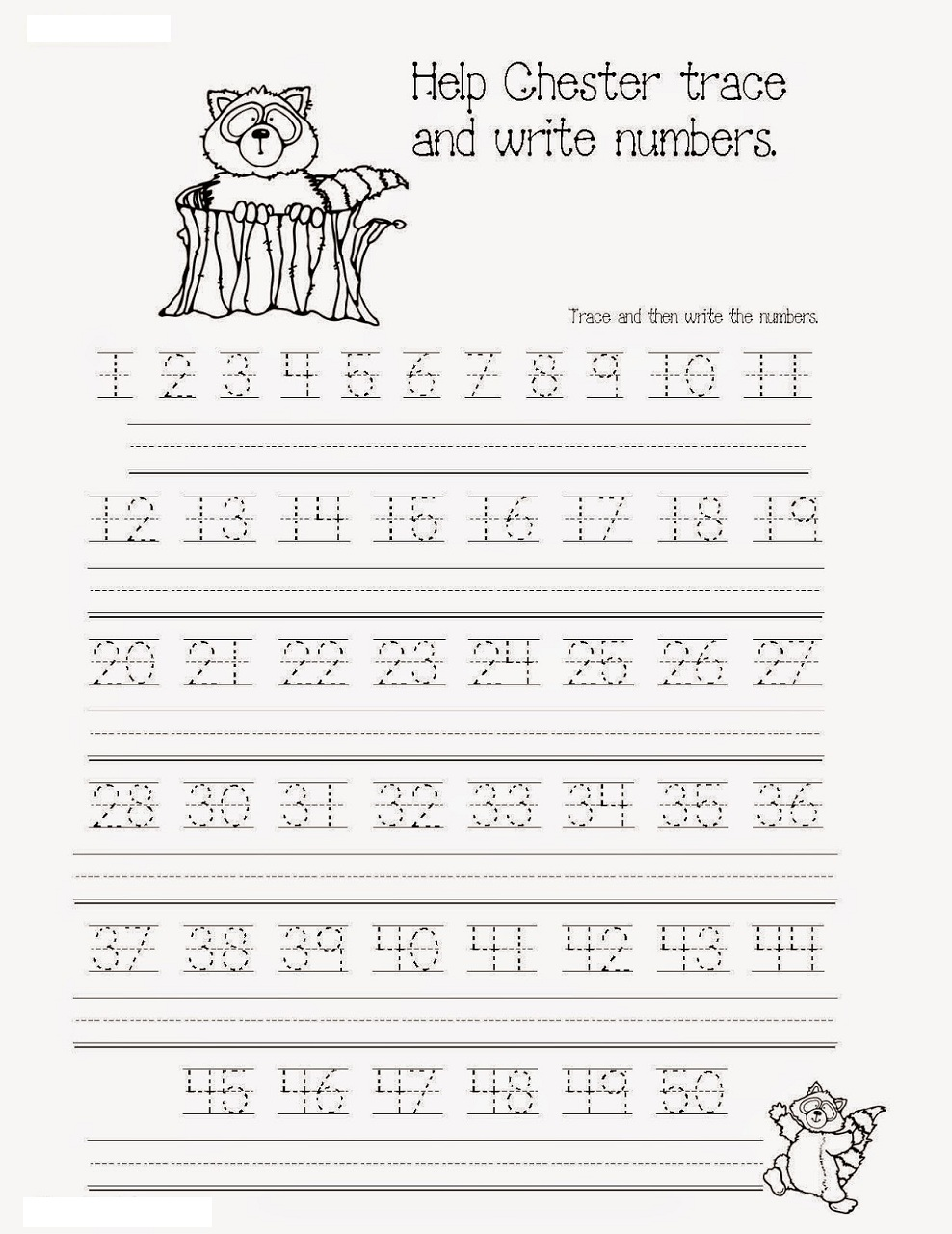 number tracing worksheets 1-50