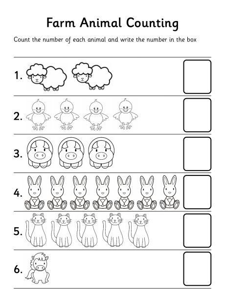 preschool counting worksheets animal