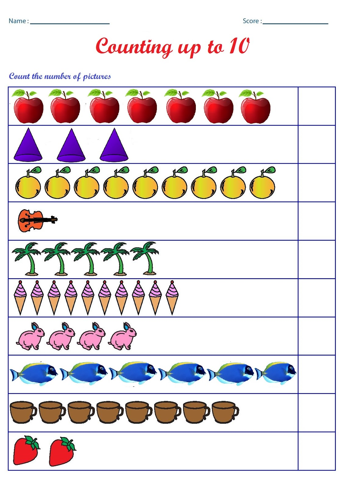 preschool counting worksheets with images