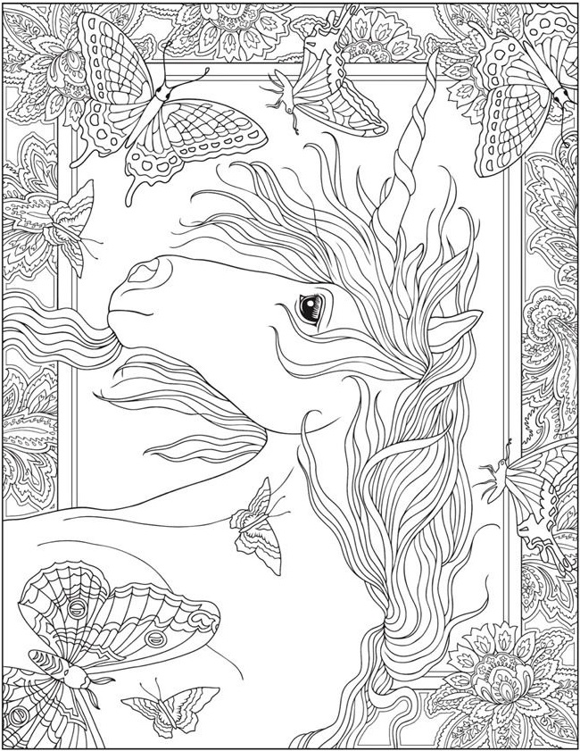 printable realistic unicorn coloring pages