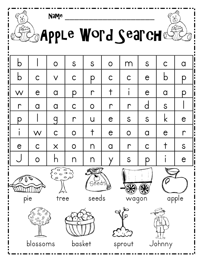 word search printable for kindergarten