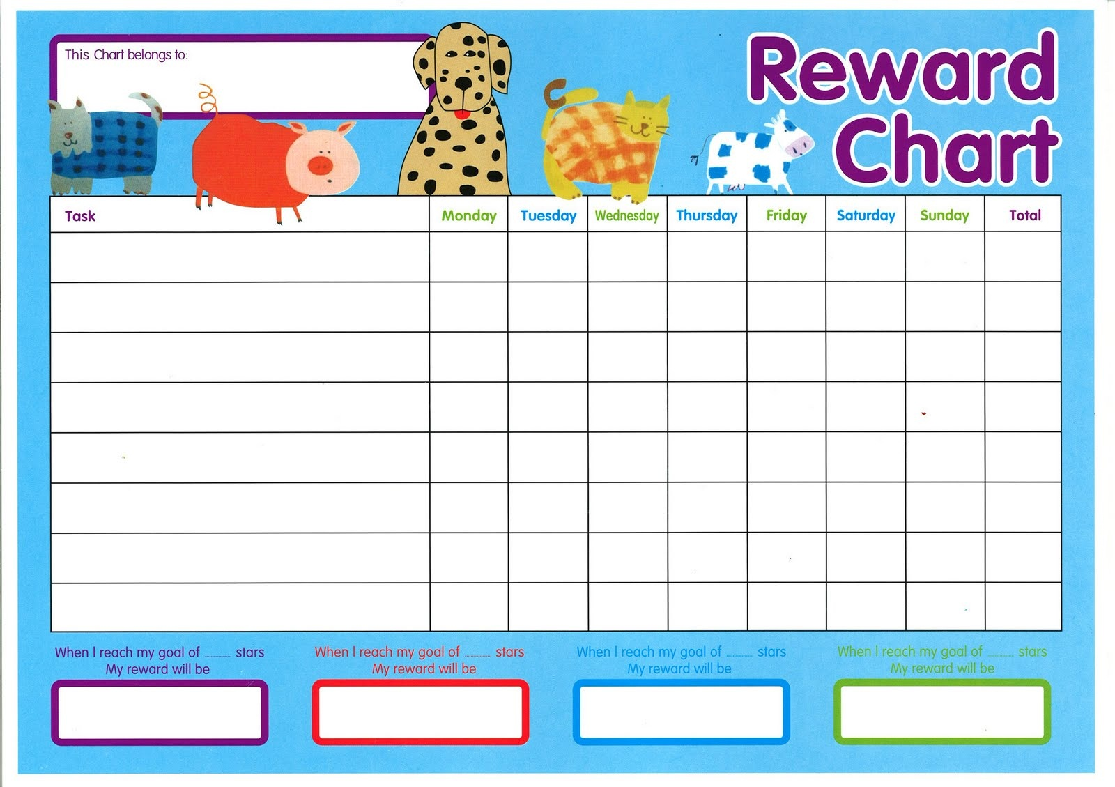 animal reward chart printable