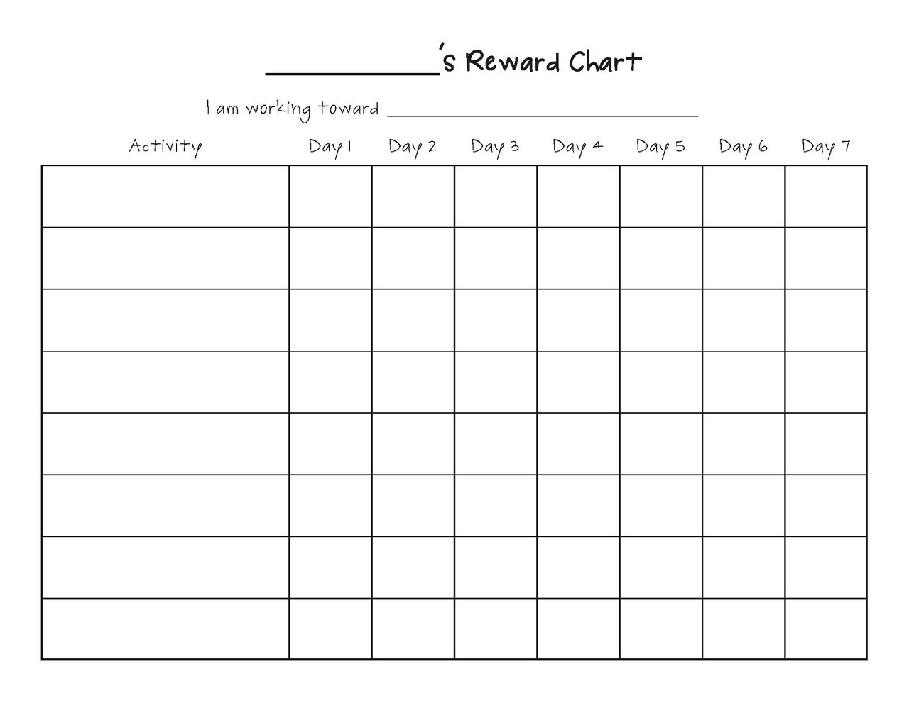 blank reward chart printable