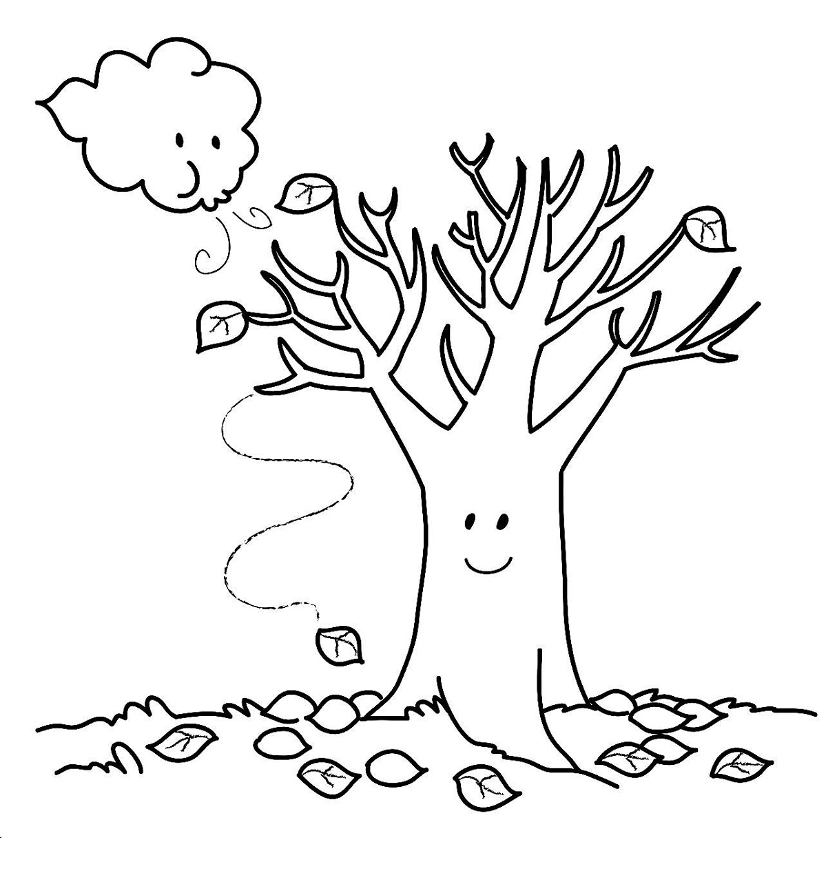 easy fall coloring pages for toddlers