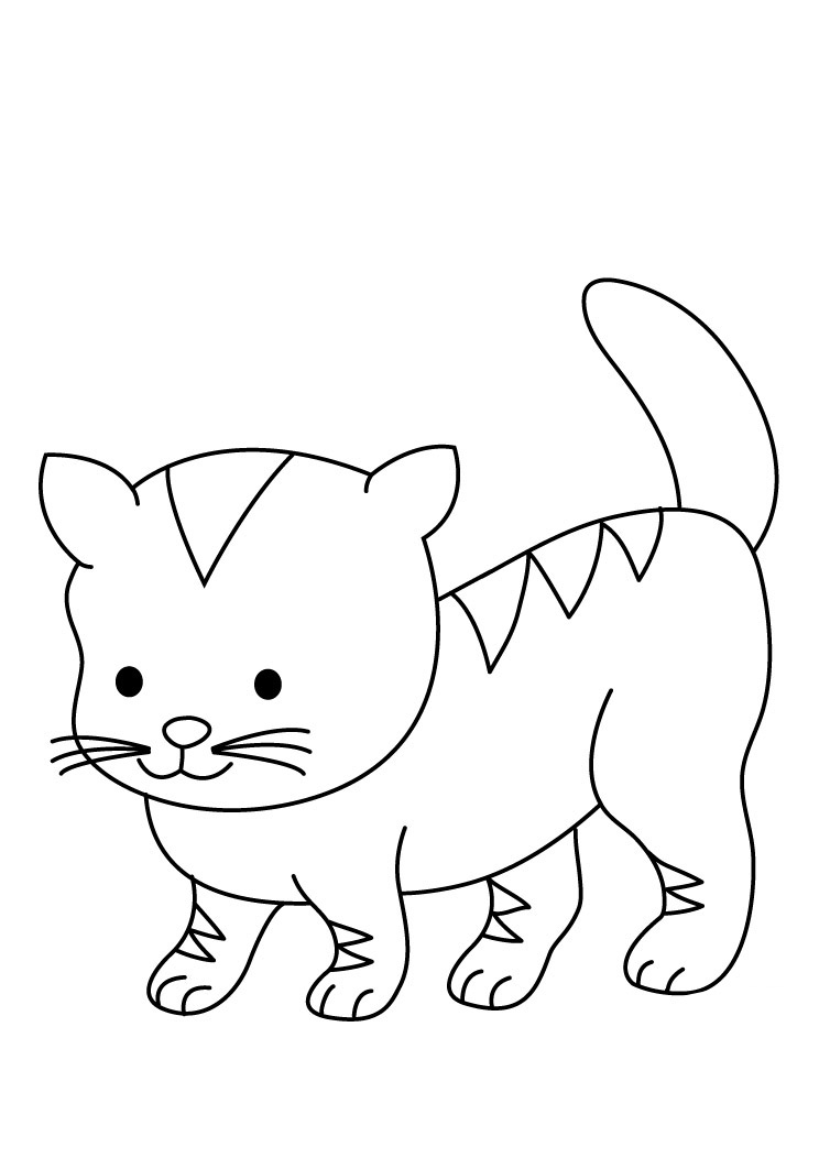 easy printable cat coloring pages