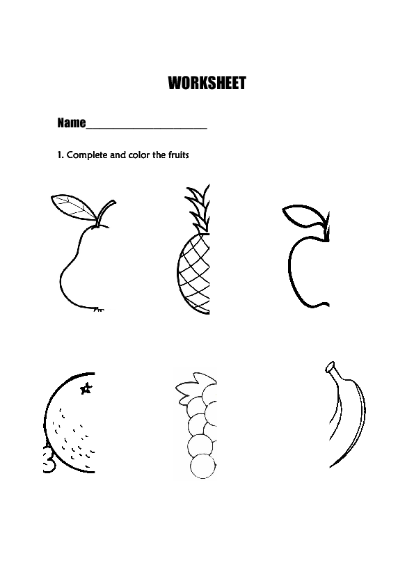 fruits worksheets for kindergarten