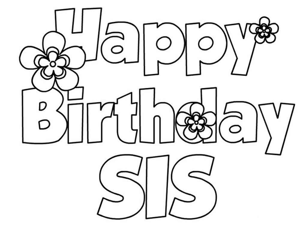 printable happy birthday coloring pages for sister