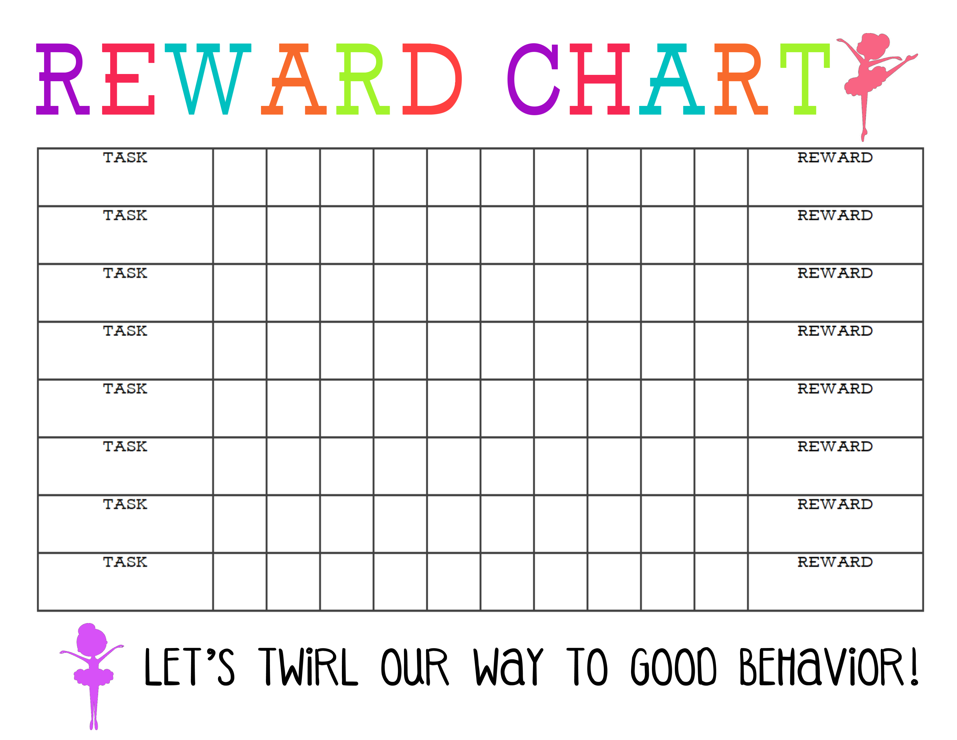 reward chart printable for girl
