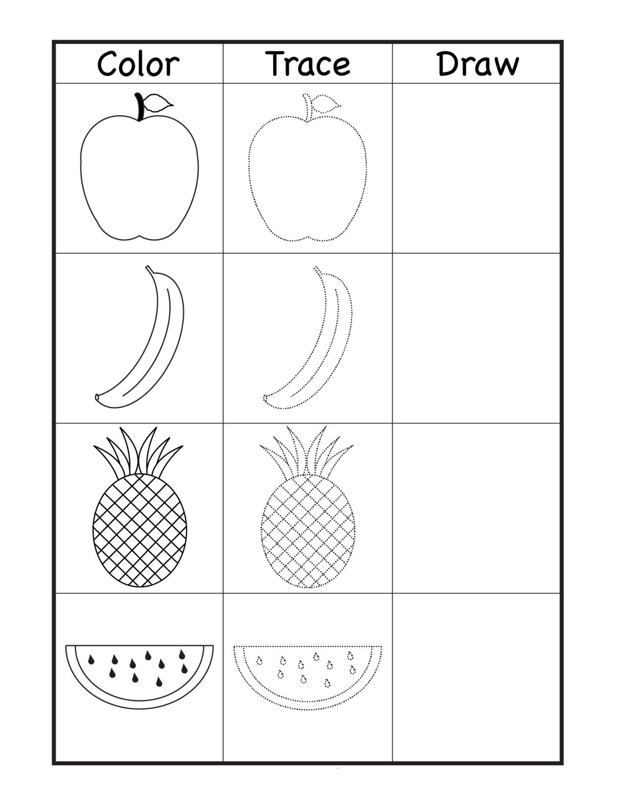 trace fruits worksheets for kindergarten