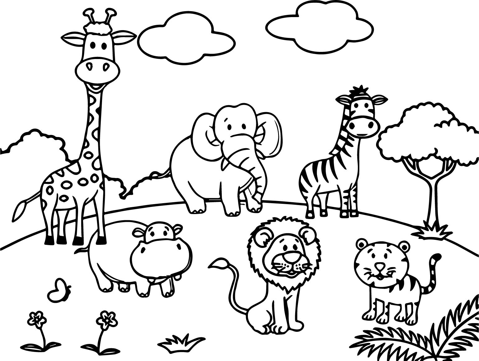cartoon animal coloring pages worksheet