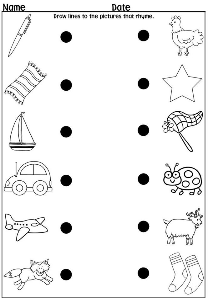 easy preschool rhyming worksheets
