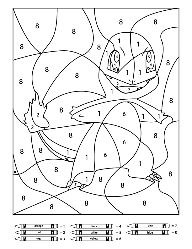 pokemon color by number worksheets