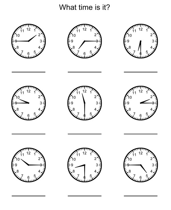 printable telling time worksheets