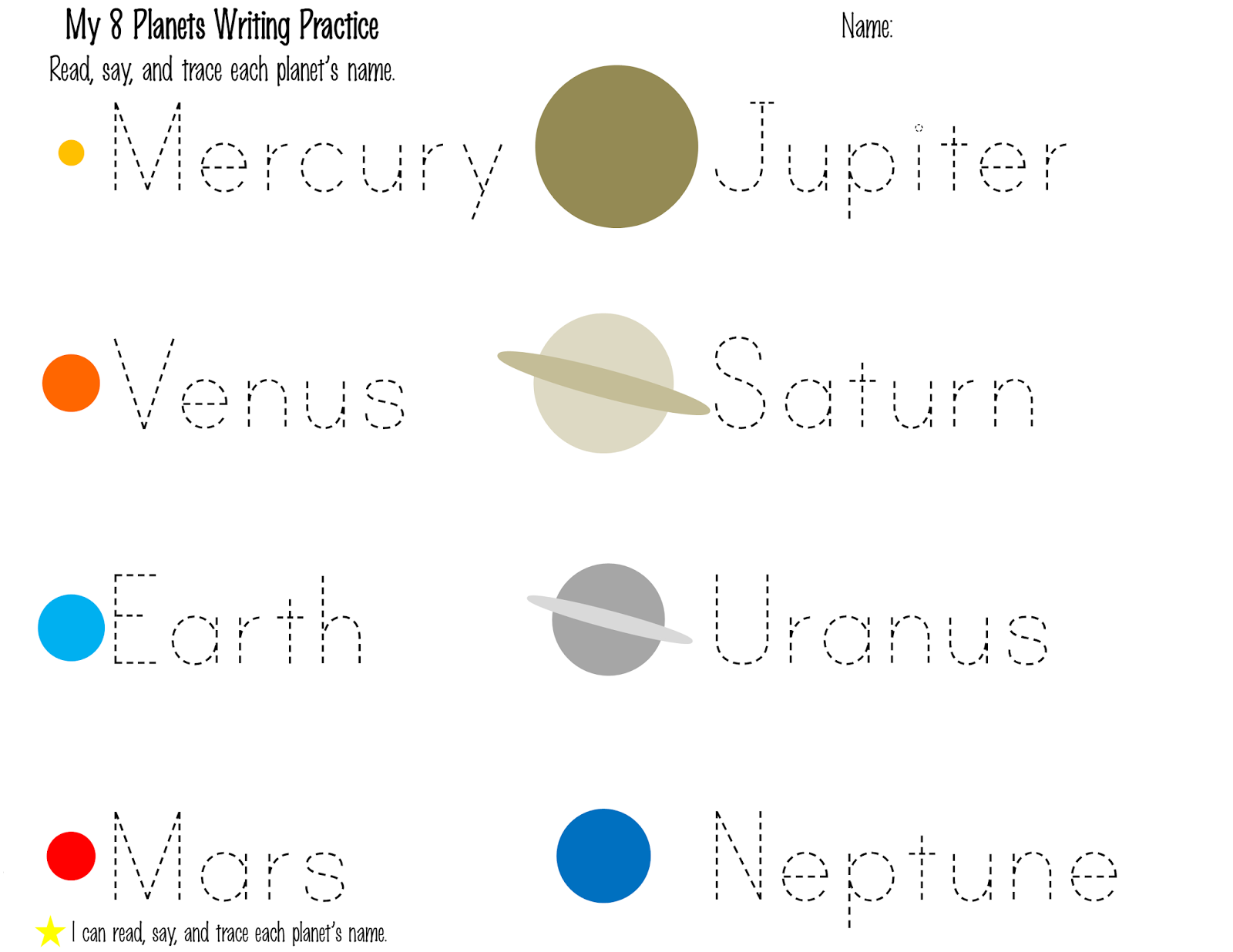 tracing solar system worksheets