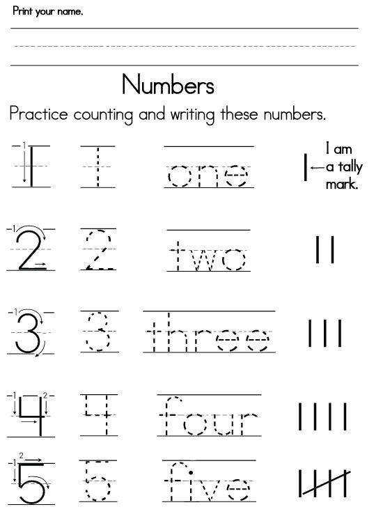 pre-k learning numbers worksheets