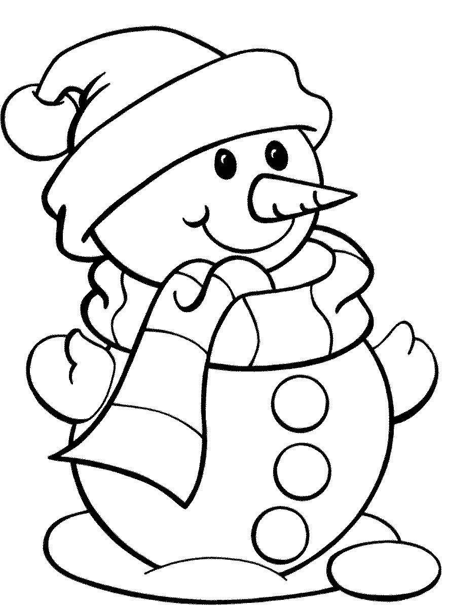 easy snowman printable coloring pages