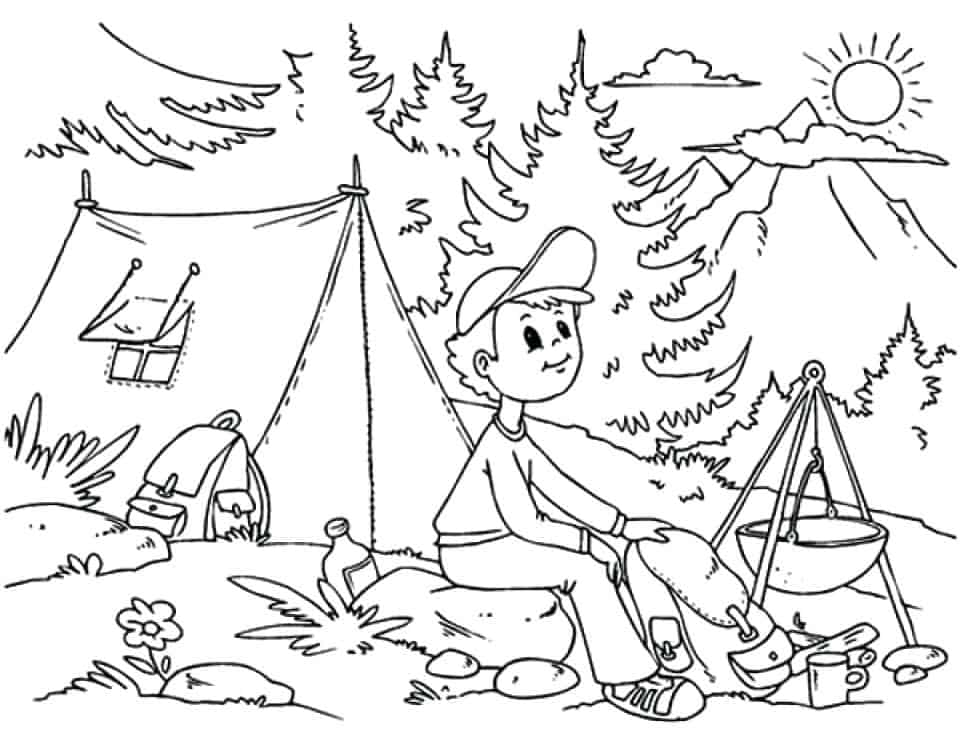 summer camp printable coloring pages