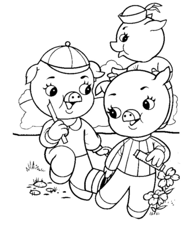 cute three little pigs coloring pages printable