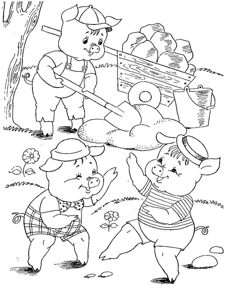 easy three little pigs coloring pages for kids