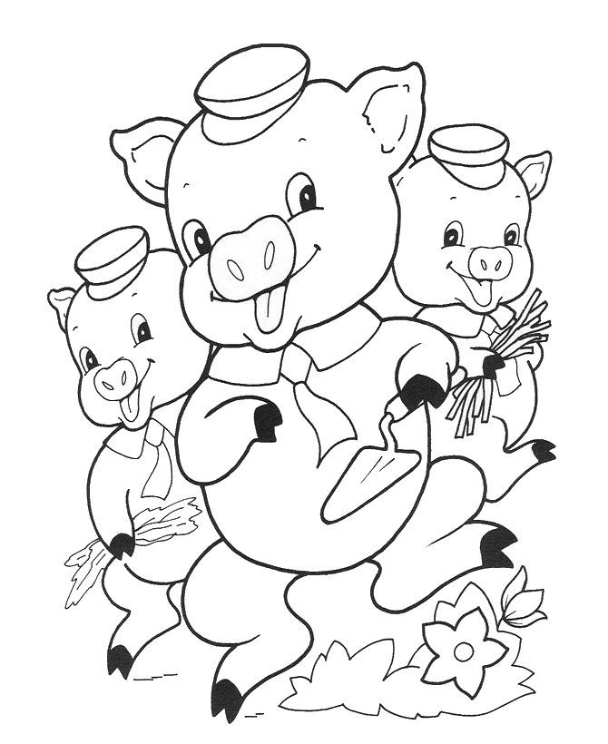three little pigs coloring pages for kindergarten student